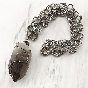 Black smokey crystal quartz wire wrap necklace
